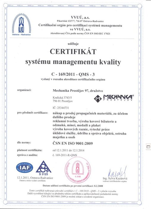 Certifikát - iso mechanika 97